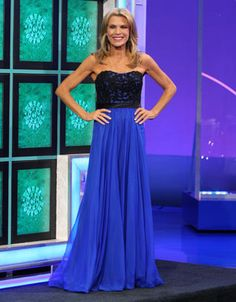 LA FEMME: Electric blue chiffon gown w/black lace empire bodice, strapless, full skirt | Wheel of Fortune | Vanna White's Dresses