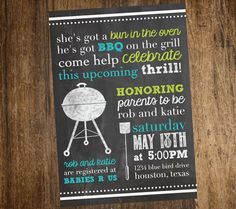couples baby shower invitation bbq modern girl or boy digital couples baby showers