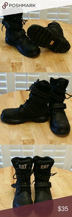 Women's Caterpillar Black Boots Water Resistant * Leather * Caterpillar Shoes Combat & Moto Boots