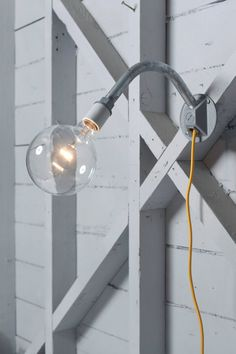 Industrial Lighting - Wall Mount Sconce - Bare Bulb Pipe Lamp w/ Wall Plug