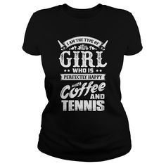 Happy with coffee and Tennis T-Shirts, Hoodies. BUY IT NOW ==► https://www.sunfrog.com/LifeStyle/Happy-with-coffee-and-Tennis--0416-Black-Ladies.html?id=41382