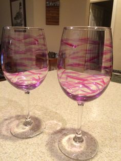 Pink and Purple Wine glass mother gift mother in law gift hand painted by JumperKellyPhotos on Etsy