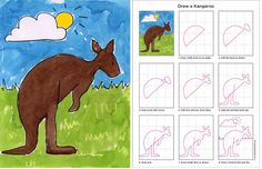 Draw a Kangaroo art project for kindergarten class. Australian animals unit.