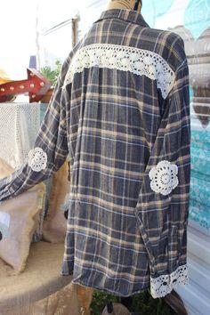 XL Flannel Shirt with Crochet Lace Doily Elbow by GypsyFarmGirl