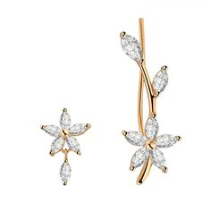 EAR VINES Cubic Zirconia Flower Branch Ear Pins Cuff Stud Earrings Gold Tone >>> Click image to review more details.