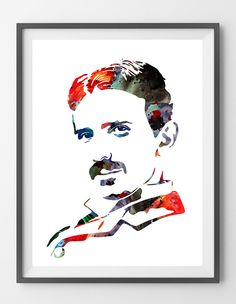 Inventor Nikola Testa Poster Nikola Tesla illustration Nikola Tesla Painting science art wall decor. Wall art gift. Sizes:12x16, 16x20, 18x24, 24x36. Packed for shipping with durable tubing Worldwide