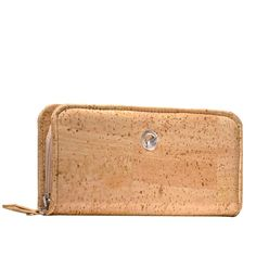 Cork Zip Around Wallet for Women Light Brown