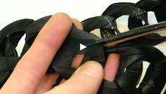 Learn to recycle a broken bike inner tube into a chain-link headband, necklace, or belt! Britt McMaster designed this project for her blog, cucumbersome.com