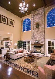 Two Story Family Room With Coffered Ceiling   Google Search | Den Ideas |  Pinterest | Ceilings, Google Search And Room