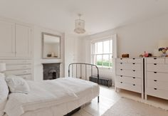 White bedroom with painted solid wooden shutters and built in wardrobes Painted Wardrobe, Built In Wardrobe, Blue Bedrooms, White Bedroom, Wooden Shutters, Amazing Spaces, Wardrobes, Room Inspiration, My House