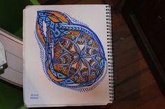 #Impulseearth #Casablanca #Chile #Casa Botha #Mandala #Zentangle #Art #Miss Miri #Abstract #Meryem Simsek #Drop #Water #Blue #Orange #Sketch #Graffiti