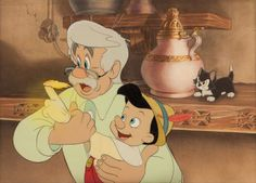 Animation Art:Production Cel, Pinocchio Geppetto and Pinocchio Production Cel andBackground (Walt Disney, 1940).... Image #1