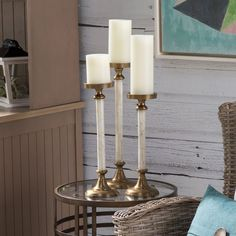 Beth Kushnick Bone Candlesticks (Set of 3), , Cream decor home aluinum iron #IMAXWorldwide #Modern