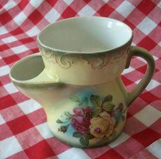 Antique Hand Painted Porcelain Scuttle Shaving Mug by naturepoet, $25.00