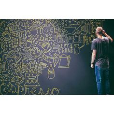 Live freestyle drawing for at Office Mural, Office Art, Mural Art, Wall Murals, Wall Art, Cafe Display, Display Wall, Chalk Wall, Chalkboard Art