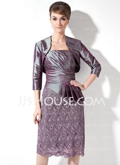 Mother of the Bride Dresses - $146.99 - Sheath Strapless Knee-Length Taffeta Lace Mother of the Bride Dress With Ruffle (008006107) http://jjshouse.com/Sheath-Strapless-Knee-Length-Taffeta-Lace-Mother-Of-The-Bride-Dress-With-Ruffle-008006107-g6107