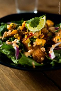 Fried #Fish #Salad Topped with Zesty #Mango Salsa & a Creamy Dressing