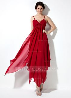 Homecoming Dresses - $109.99 - Empire V-neck Ankle-Length Chiffon Charmeuse Homecoming Dress With Ruffle (022021021) http://jjshouse.com/Empire-V-Neck-Ankle-Length-Chiffon-Charmeuse-Homecoming-Dress-With-Ruffle-022021021-g21021?ver=0wdkv5eh