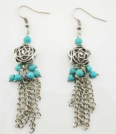 Silver rose blue bead dangling earring