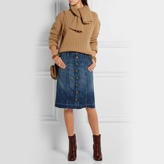 CURRENT/ELLIOTT The Short Sally denim skirt. Need to wear my denim pencil skirt with chunky sweaters and short jackets - moto or Chanel style