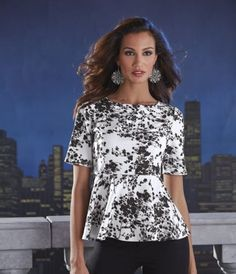 Noir Nights Peplum from Midnight Velvet®. Like a pen and ink study of a profusion of cherry blossoms, this peplum top is exquisitely detailed, with eye-catching contrast.