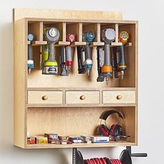 easy woodworking projects Nailer Station Plan from WOOD Magazine - Organize your nail guns--pneumatic and battery powered--with this easy-to-build cabinet. There's storage for nails and accessories, too. Featured in WOOD Issue September 2018 Woodworking Organization, Woodworking Garage, Easy Woodworking Projects, Popular Woodworking, Woodworking Furniture, Fine Woodworking, Woodworking Basics, Woodworking Classes, Woodworking Techniques