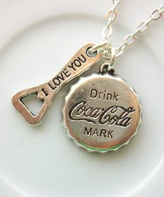 Coca Cola necklace, bottle cap and opener - love for the Coca Cola necklace on Etsy
