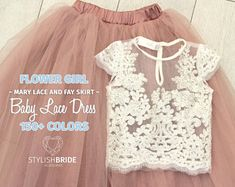 Dusty Blue Flower Girl Dress Ombre Tulle Lace Dress from Mary