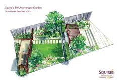 Perspective of the Squires Garden designed by Catherine MacDonald for RHS Hampton Court Flower Show Garden Design Plans, Garden Landscape Design, Patio Design, Landscape Designs, House Design, Garden Stand, Garden Show, Home And Garden, Garden Centre