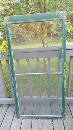 Wood Window Screen, Window Frame, 2 Pane, Old Window, Farmhouse Antiques, Home Decor, Wedding Decor, Craft Supplies, DIY Decor, Screen 0250