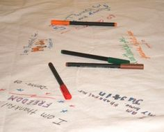 Thanksgiving Gratitude Tablecloth: Each year have your guests write what they are grateful for, sign, and date it.  Review, renew, and rejoice each year.  What a great idea!