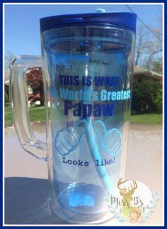 World's Greatest Papaw   #papaw #grandparentgifts #vinylcup #decal #grandpa   www.facbeook.com/missbsbowtique05