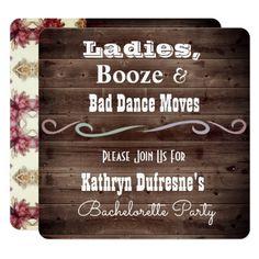 """Bad Dance Moves"" Rustic Bachelorette Invitation - vintage gifts retro ideas cyo"