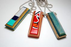 Grab one of our recycled skateboard bar necklaces! Handmade in USA from recycled materials.