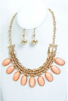 The Acrylic Peach Necklace $12.00