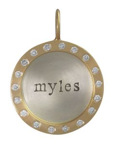 Silver & 14k Gold Single Lowercase Name Charm with Diamonds