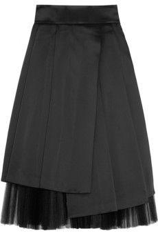 Marc by Marc Jacobs Satin and plissé-tulle midi skirt | NET-A-PORTER
