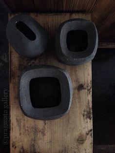 """""""Impasto containers"""" Ceramic vases by Katsumi Machimura."""
