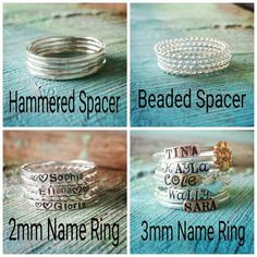 Chandys Creations-Sterling Silver-Stackable Name Rings-Name Ring-Stacking Rings-Stackable Mothers Ring-Name Rings-Custom Ring-Midi Ring-Hammered Spacers-Beaded Spacers ****************************************** * Photos enlarged to show details Stackable Name Rings, Ring Spacer, Multiple Rings, Three Rings, Copper Rose, Rose Gold, Spoon Jewelry, Silver Jewelry, Diamond Jewelry