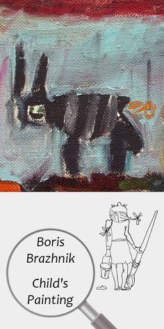 "Boris Brazhnik (6 years) | Child's Painting | Printable | Design | Interior | Instant Download | Digital Image | ""Black Cat"" (fragment) Oil on Canvas 16x22cm | Child's Art Drawing Black Red Blue | №B-006 Diy Canvas, Oil On Canvas, Painting For Kids, Art For Kids, Printable Designs, Digital Image, 6 Years, Red And Blue, Art Drawings"