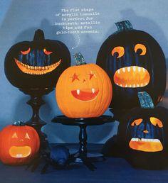 Halloween pumpkins - use fake nails for teeth and fake pumpkins (fumpkins...LOL) Martha Stewart - Oct 2015