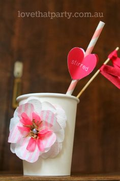 """Free Printable Valentine's Day Drink Stirrer: """"You get me all stirred up!"""" by Love That Party. www.lovethatparty.com.au"""