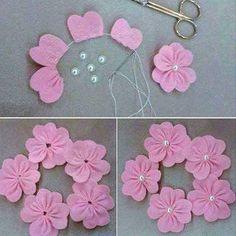 Blumen aus Tüll oder Filz mit Perle