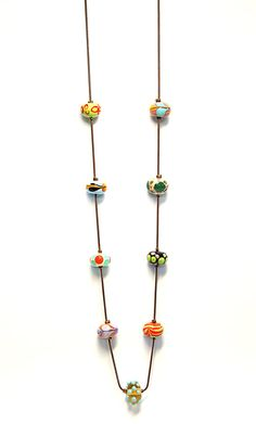 Colorful Lampwork necklace Murano Glass Beads by pninastudio, $110.00