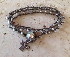 BELIEVE IN LOVE 3x crochet wrap bracelet bohemian by MermaidsKnots