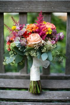 love the mix of soft and vibrants colors in this bridal bouquet  ~  we ❤ this! moncheribridals.com