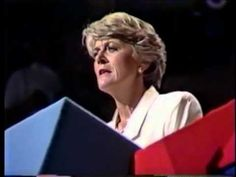 The First Woman to be nominated for the Vice Presidential seat, Geraldine Ferraro, accepts her nomination at the 1984 Democratic National Convention. Description from wn.com. I searched for this on bing.com/images