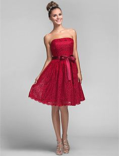 A-line Princess Strapless Knee-length Lace Bridesmaid Dress – USD $ 99.99