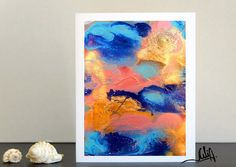 #OceanAbstract #Painting, #BluePainting #TurquoisePainting #GoldandCoral, #Abstract #Watercolor, #FineArtPrints, #NauticalPainting, '' #Ocean #Breeze'' #DiptychPainting 2 by #JuliaApostolova #JuliaArtGifts on #Etsy