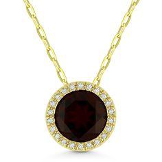 1.72ct Round Cut Garnet & Diamond Circle Halo Pendant & Chain Necklace in 14k Yellow Gold - AlfredAndVincent.com